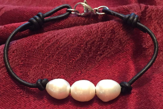"Freshwater Pearls on Black Leather with Lobster Claw Clasp- Adjustable Slip Knot 6-1/2""-7-1/2"""