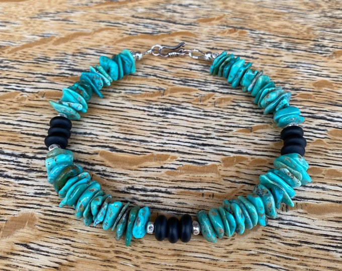 Turquoise and Black Onyx Anklet w/ Karen Hill Tribe Silver Beads and accents.