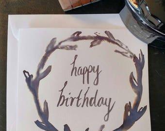 Leafy Wreath Happy Birthday Card