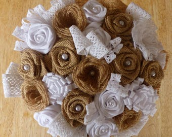 Bridal bouquet vintage style with lace and burlap (made to order)
