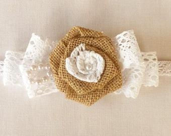 Lace and burlap flower bracelet