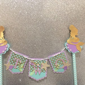 Series 4 Mermaid Tail Cake topper One  Purple Teal and Glitter silver  Cake Topper Birthday bunting Any age and name available