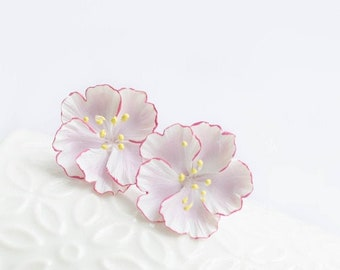 1c0cf2e56bae2d Flower jewelry Sakura earrings Japanese earrings Cherry blossom earrings  Pink sakura Japan cherry flower Polymer Clay jewelry Sakura jewelry