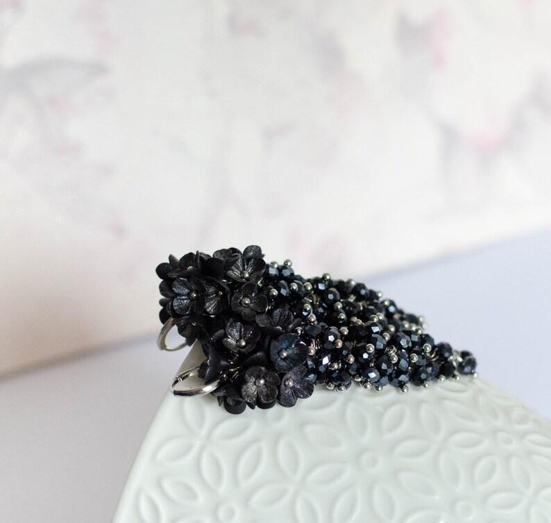 Polymer clay chandelier earrings Black flower earrings