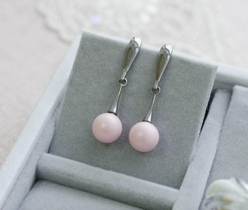 Blush pink pearl silver earrings