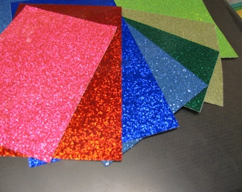 Glitter Flake Sheets, Adhesive backed, Glitter Sparkle Chips, Choose your color and size