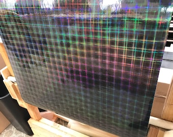 BLACK PLAID Holographic Vinyl, Free Shipping for USA, Iridescent Vinyl