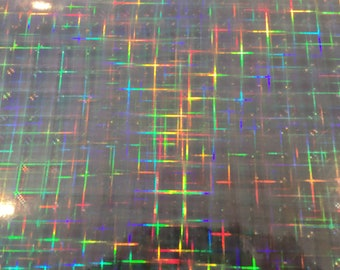 SILVER PLAID Holographic Vinyl, Free Shipping for USA, Iridescent Vinyl