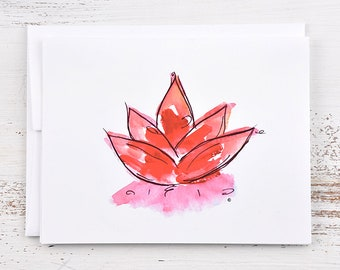 Lotus Flower Note Card - Red
