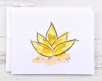 Lotus Flower Note Card - Yellow