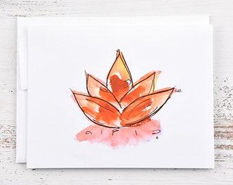 Lotus Flower Note Card - Orange