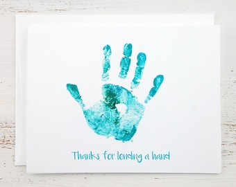 Thank You Note Card - Turquoise Hand