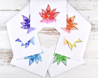 Yoga Cards - Chakra Cards - Cards for Yogis - Cards for Yoga Lovers - Chakra Cards - Lotus Cards - Chakra Lotus Flower Note Card Set
