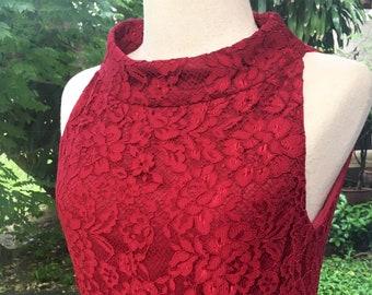 Red lace Dress, Classic Evening Dress, Brides mom Dress,Vintage,Minimalistic,Elegant,Romantic,Party,Bateau collar,Fit&flare,Sleeveless