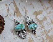 Sonoran Gold Turquoise Earrings Sterling Silver Gemstone Earrings Turquoise Drop Earrings Ivy Leaf Earrings Floral Jewelry