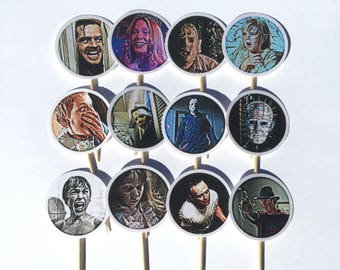 Scary Movie Cupcake Toppers, Horror Movie Cupcake Toppers, Halloween Party Decorations