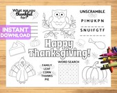 "Thanksgiving Activity Sheet, 8.5""x11', Printable, Coloring, Party Favor, Thanksgiving Party Favors, Happy Thanksgiving"