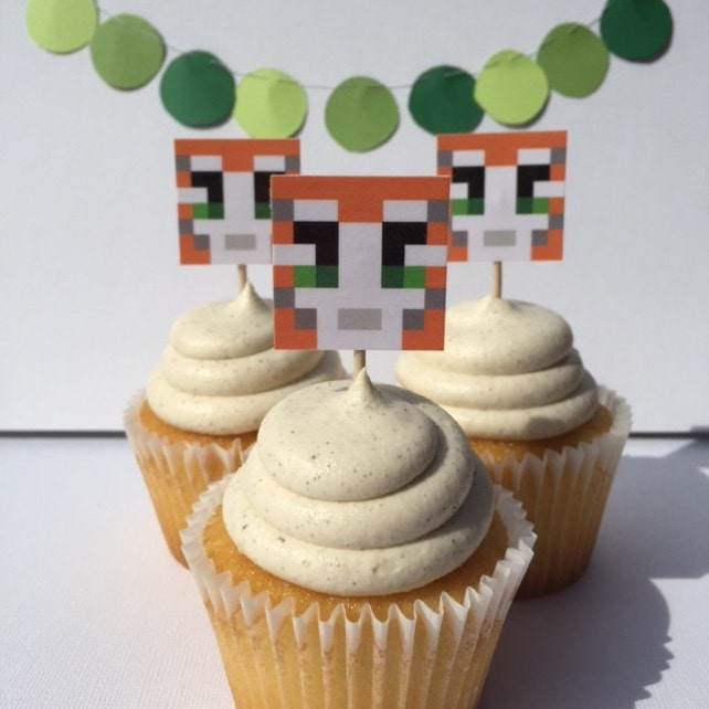 Stampy Cupcake Toppers Stampy Cat Mine Craft Birthday Party Etsy