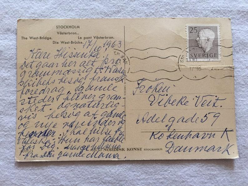 The West Bridge Stockholm Sweden Stamped Used Antique Vintage Original Postcard Early  Mid 1900/'s