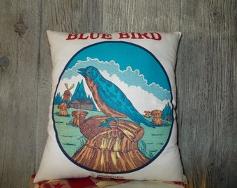 Blue Bird Flour Sack Pillow, farmhouse pillow, couch toss, chair accent, Bedroom decor, wedding gift, Bird decor, Stuffed feed sack