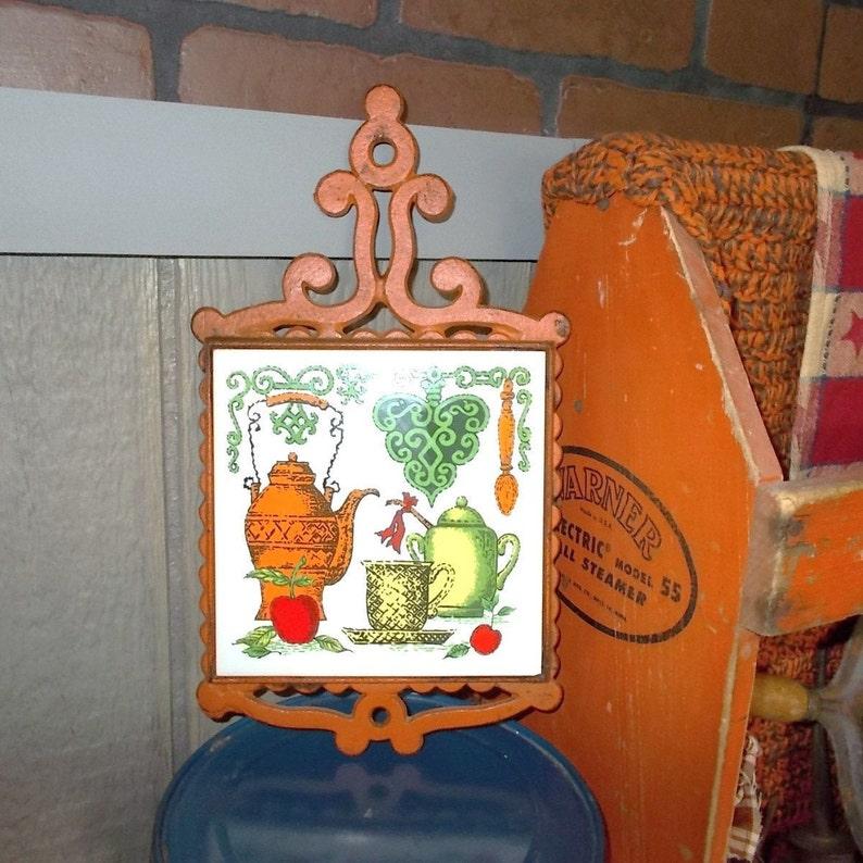 Cast Iron Ceramic Tile Burnt Orange Trivet Mid Century Hot Etsy