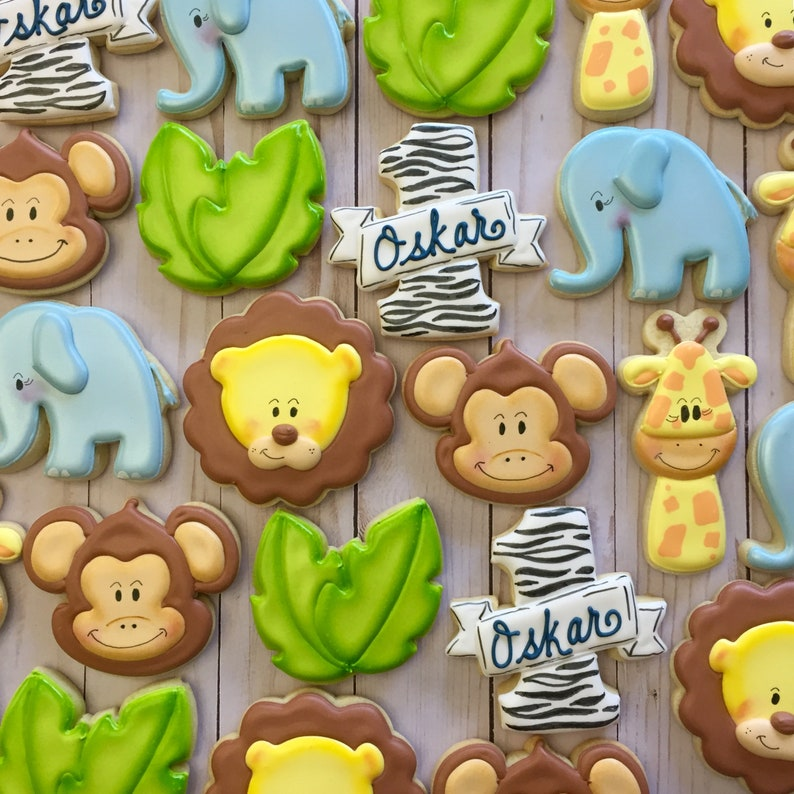 Jungle Animals Decorated Sugar Cookies