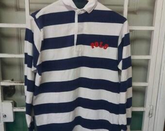 Vintage Polo colour block spellout embroidery/large/blue n white/made in usa/polo ski/polo bear polo usa