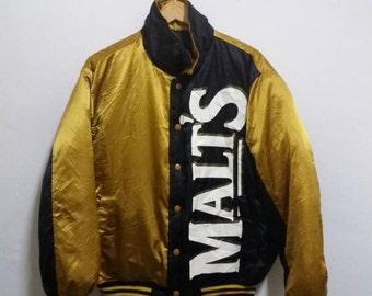Vintage Malt reversible Down Jacket pullover/gold black/large/baseball/hiphop Zwosc