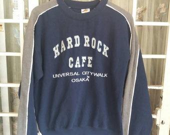 Vintage Hard Rock Cafe sweatshirt spellout embroidery/blue/medium/made in UAE