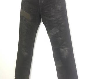 Vintage black barrett by neil barret jeans/abstract design black paint /low rise/waist 33/made in japan