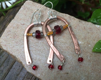 Dangle Earrings, Earrings, Wire, Copper, Gemstones, Gifts For Her, Ruby, Labradorite