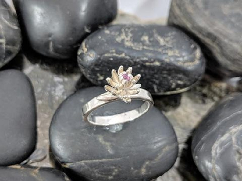 Garnet Succulent Flower Ring Handmade in Sterling Silver One of a Kind Gift Unique Natural