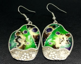 Grape and Earth inspired earrings