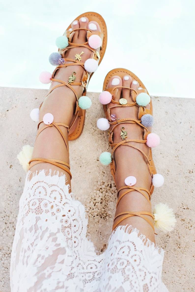 361c932071eb7 Leather tie up pompom sandals - Miami