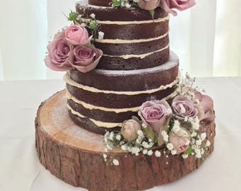 """Gorgeous 15"""" Rustic log slice x 3"""" thick, ideal for wooden wedding cake stand or table centrepiece"""