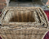 Wicker storage rectangular log basket, grey buff
