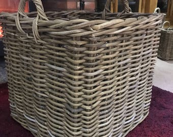 Extra Large Square handmade rattan wicker log/storage basket 60cm, big, sturdy and strong!