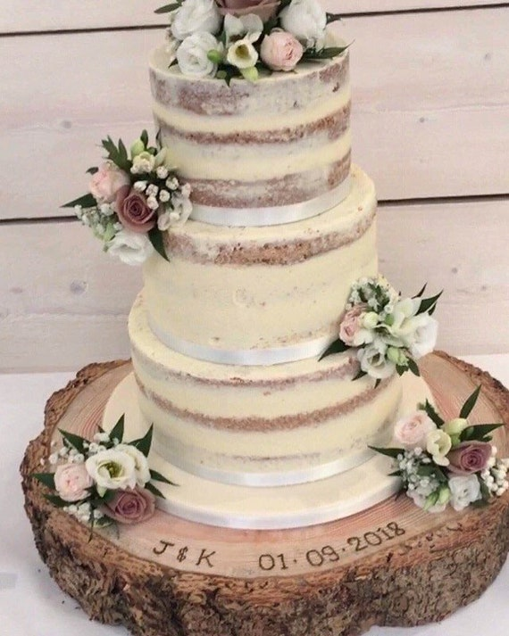 log slice personalised or un-personalised Rustic carved heart log cake stand