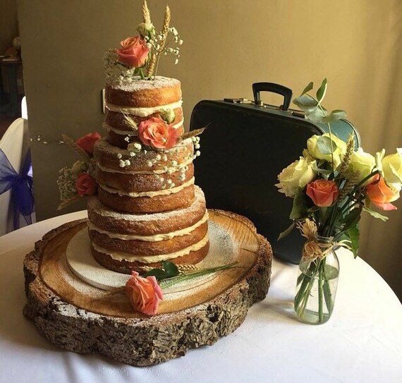 """Wooden wedding cake stand Cheese Cake Board 17""""-15"""" Oval Rustic Log slice"""