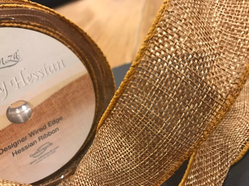 Tan Hessian Ribbon Burlap 38mm Wide Wired Edges Jute Lovely For Bows
