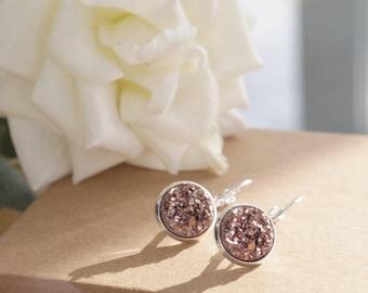 Rose Gold Druzy | Silver Plated | Drop Earrings
