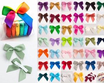 Satin Ribbon Pre Tied 5cm Bows - Self Adhesive - 43 Colours inc. Rainbow - 16mm Ribbon