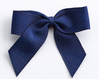 Navy Blue Self Adhesive 16mm Grosgrain Ribbon Pre Tied 5cm Bows