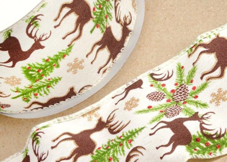 Cut Lengths 14568 Berisfords Oatmeal Woodland Animals Printed Christmas Ribbon