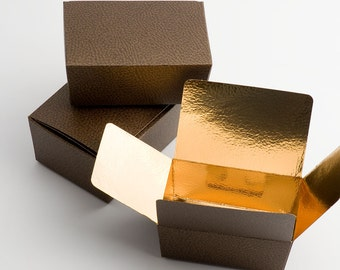 Truffle Chocolate Ballotin Box - Antique Brown Gold Lining, Leather Effect - Soaps, Gifts, Favours, Favors - 3 Sizes x 10 Pack