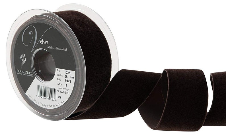 Berisfords Cafe Brown Velvet Ribbon Cut Lengths 5 Widths Colour 9636