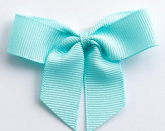 Duck Egg Blue Self Adhesive 16mm Grosgrain Ribbon Pre Tied 5cm Bows