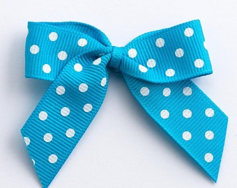 Turquoise Blue Self Adhesive Polka Dot Grosgrain Ribbon Pre Tied 5cm Bows
