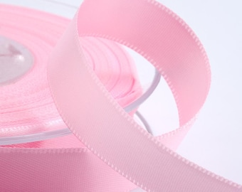 Pale Pink Double Faced Satin Ribbon - Cut Lengths or Full Reels - 7 Widths