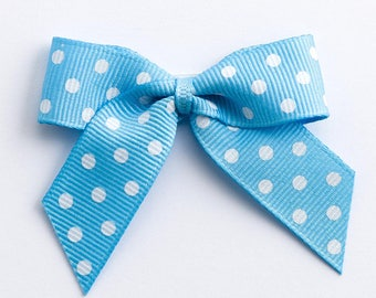 Pale Blue Self Adhesive Polka Dot Grosgrain Ribbon Pre Tied 5cm Bows
